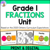 Fractions Unit for Grade 1 (Ontario Curriculum)