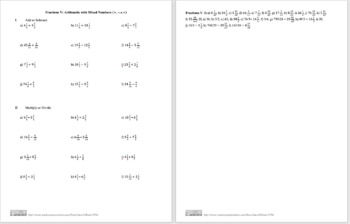 Fractions V: Mixed Numbers Addition Subtraction Multiplication Division