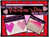 Fractions Valentine's Day Heart Puzzle Math Center