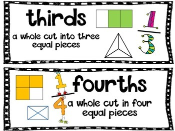 Fractions Vocab Word Wall Cards