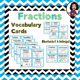 Fractions Vocabulary Cards Grades 3-5
