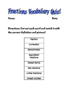 Fractions Vocabulary Quiz