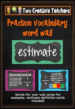 Fractions Vocabulary Word Wall Flash Cards