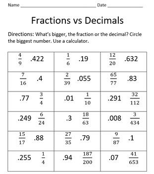 Fractions Vs Decimals