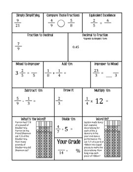Fractions Weekly Practice