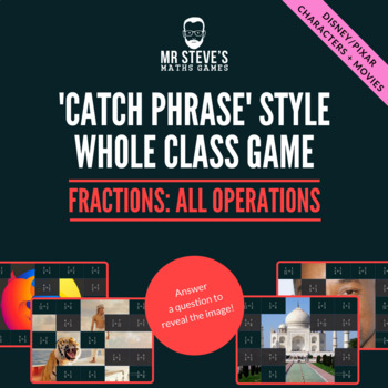 Fractions Whole Class Game All Operations + simplifying:  Movies and Cartoons