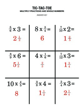 Fractions & Whole Numbers Review Game - Partner Activity Tic Tac Toe