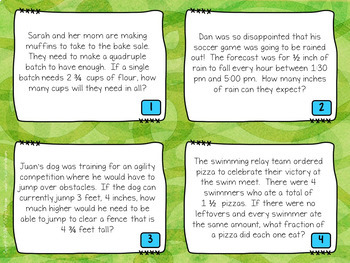 Fractions Word Problem Task Cards: Grade 4-5