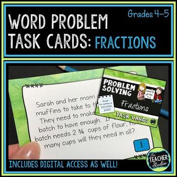 Fractions Word Problem Task Cards: Grade 4-5
