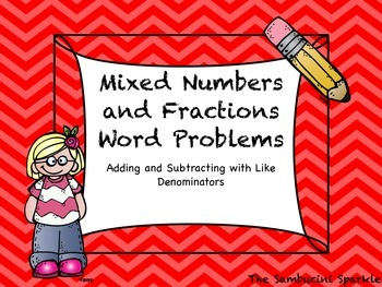 Fractions Word Problem Task Cards with Like Denominators