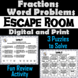 Fractions Word Problems Activity: Escape Room Math