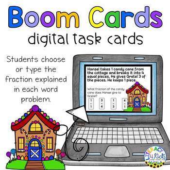 Hansel and Gretel Fractions Word Problems Boom Cards (Digital Task Cards)
