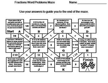 Fractions Word Problems: Math Maze
