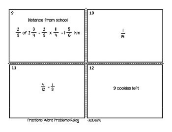 Fractions Word Problems Relay Whole Class Activity