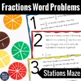 Fractions Word Problems Stations Maze  4.NF.3d