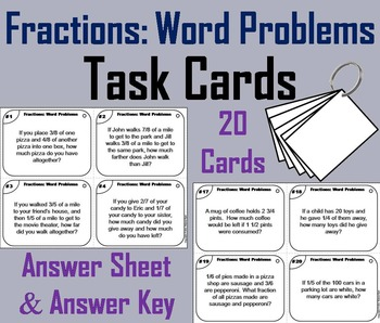 5th 4th 3rd Grade Fractions Word Problems Task Cards