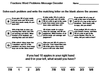 fractions word problems worksheet math message decoder by science spot