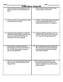 Fractions Word Problems for STAAR