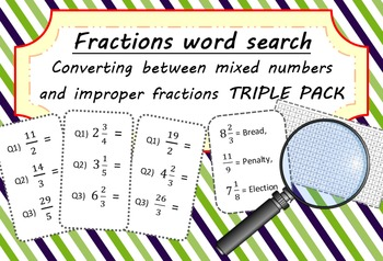 Fractions Word Search - Convert Mixed Numbers & Improper Fractions TRIPLE PACK