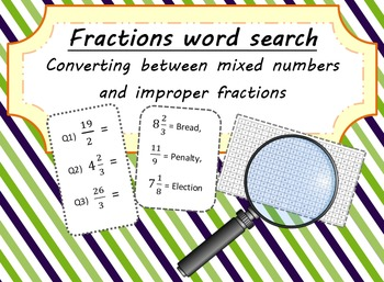 Fractions Word Search - Converting between Mixed Numbers and Improper Fractions