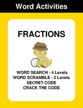 Fractions - Word Search, Scramble,  Secret Code,  Crack the Code