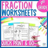 Fractions Worksheet Packet - 3rd Grade
