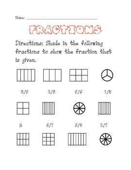 Fractions Worksheet for Elementary School