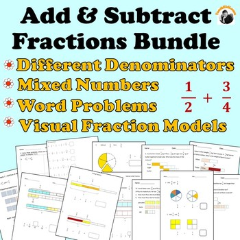 Fractions Worksheets Bundle 4th Grade, 5th Grade - Add and Subtract