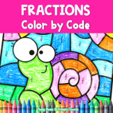 Fractions Worksheets | No Prep | Color by Code Distance Learning