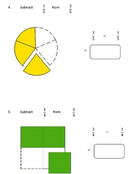 Fractions Worksheets, 4th Grade, 5th Grade - Subtracting Fractions
