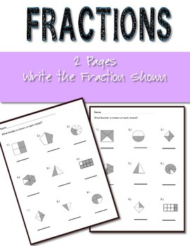 Fractions Worksheets Write the Fraction Shown 2 worksheets