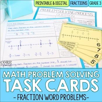 Math Problem Solving Task Cards: Fraction Word Problems