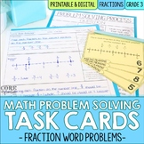 Fraction Word Problem Solving Task Cards for Third Grade Math
