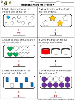 Fractions: Write the Fraction (Sets) Practice Sheets - King Virtue