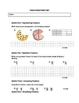 Fractions Written Test