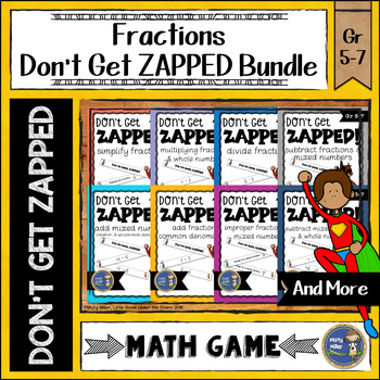 Fractions Don't Get ZAPPED Math Game Bundle