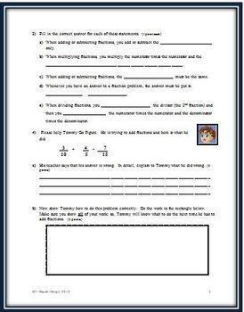 Fractions All Operations A Cumulative Math Test