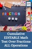 Cumulative EDITABLE Math Test Over Fractions - Add, Subtra