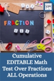Cumulative EDITABLE Math Test Over Fractions ALL Operations
