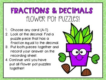Fractions and Decimal Puzzle Activity