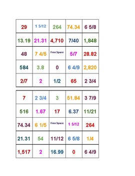 Fractions and Decimal Review Bingo