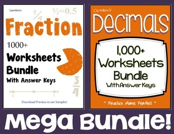 Operations, Converting, Fractions And Decimals Worksheets Bundle