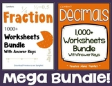Add, Subtract, Multiply, Divide, Compare, Convert Fractions & Decimals Worksheet
