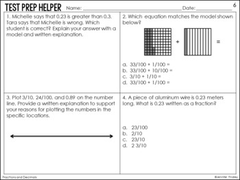 Fractions and Decimals 4.NF.5, 4.NF.6, 4.NF.7 {4th Grade Common Core Test Prep}