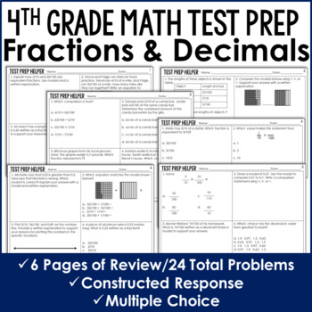 Fractions and Decimals 4.NF.5, 4.NF.6, 4.NF.7 - 4th Grade Test Prep (No Prep)