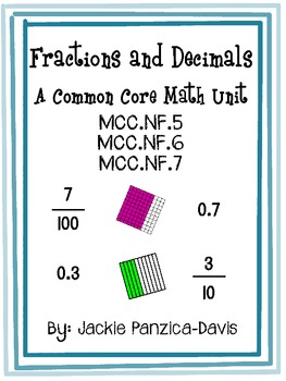 Fractions And Decimals 4th Grade Common Core By Jackie