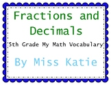 Fractions and Decimals 5th Grade My Math Vocabulary Posters