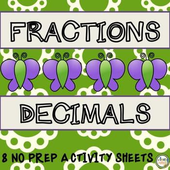 Fractions and Decimals No Prep Printables