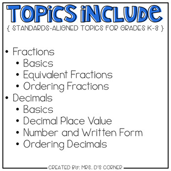 Fractions and Decimals Adapted Work Binder