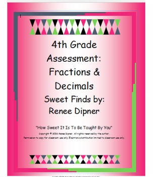 Fractions and Decimals Assessment 4th Grade